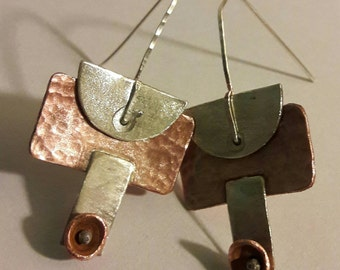 Copper and silver earrings. Large drop earrings. statement earrings. Tribal jewelry ,ethnic,boho, mixed media. Vintage style unique jewelry