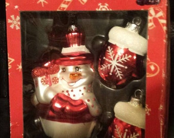 Mercury glass snowman and mittens Christmas ornaments