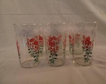 Beautiful vintage red flower water glasses/Set of 6