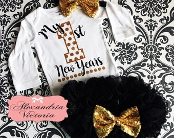 NEW YEARS SET, Bodysuit, Tutu Bloomer & Headband, New Yers Outfit, Baby, Toddler, Girl, Black and Gold, All Around Ruffle.