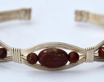 Cherry Creek and Sterling wire bracelet