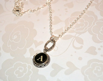 Typewriter Key Necklace, Personalized with a Letter A Initial, Initial Necklace, Gift for Her.