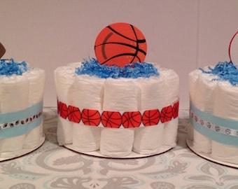 Set of 3 Sports Diaper Cakes, Baby Boy Diaper Cake, Baby Shower Centerpiece, Boy Diaper Cake, Baby Shower Gift, Diaper Cake