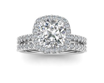 Cushion Cut Bridal Ring Set / Engagement Ring Set / Forever One Moissanite / Natural Diamonds / Halo Wedding Set / White Gold / 1.70 Carat /