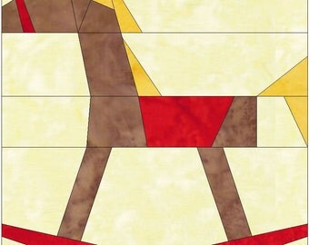 Rocking Horse 10 Inch Paper Piece Foundation Quilting Block Pattern