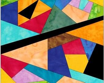 Complex Crazy Patch 17 Paper Foundation Piece Quilting Block Pattern PDF
