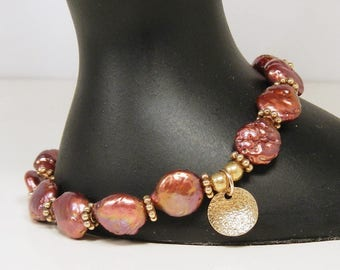 Pink and Gold Boho Bracelet, Freshwater Pearl Magenta Jewelry, Hand Made in Canada