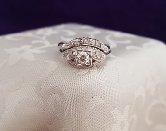 Antique Edwardian Art Nouveau 14k White Gold Wedding Ring Set w/Approx. .50 ct. Center Stone -EB569