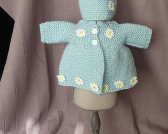 UNIQUE Hand-knitted NEWBORN jacket and hat set