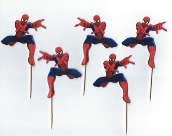 12 Spiderman Inspired  Party Picks - Cupcake Topper - Toothpicks - Food Picks Die Cut Punch Cardstock Spiderman