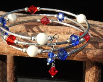 Handcrafted Red, White and Blue Memory Wire Bracelet w/ Swavorski Crystals