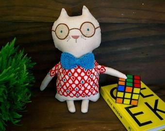 Walter the geek Cat - rag doll - Stuffed animal - Cloth cat - Soft toy