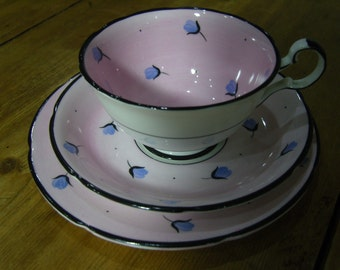 Grafton Pink and Black Cup, Saucer and Plate Trio