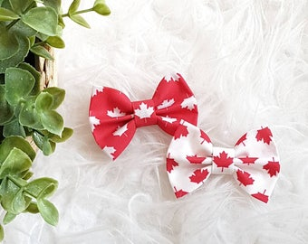 Large classic hair bow - canada day bow, red and white maple leaf -  headband or clip