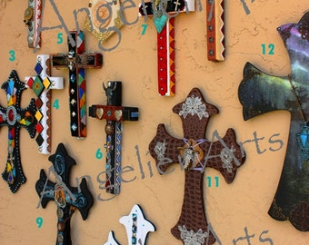 Angelien Arts - American Southwest Cross Spiritual Religious Alter Wall Decor Christian Sacred Worship Wood Hand Painted