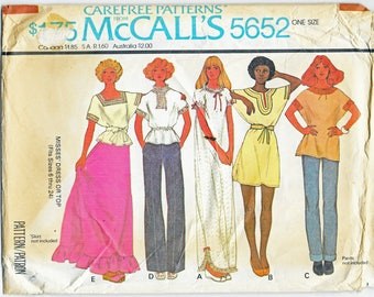 1970's Misses Loose Fitting Dress or Top McCall's Carefree Pattern