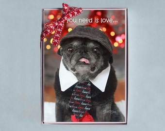 BOX OF 10 5x7 CARDS - Love and Kisses - Funny Valentines Day Card