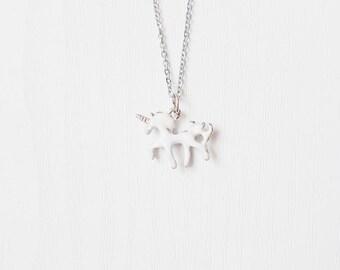Silver Unicorn Necklace   Enamel Unicorn Jewelry   Lolita   Fairy Kei   Pastel Goth