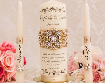 Pearl and Crystal Unity Candles Set, Champagne Wedding Candles, Gold Wedding Unity Candle Set, Wedding Candle Set, Gold Wedding Candles