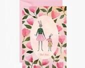 Carte de vœux, carte à message, carte fête des mères, lapin, je t'aime, maman, vintage, rose, cadeau, papeterie, livraison gratuite france