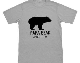 Papa Bear Shirt - Gray Mens Tee - Papa Bear Tshirt for Father's Day