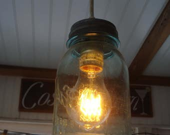 Antique Genuine Ball / Mason Jar 1800's Zinc top RePurposed Aqua glass Pendant Light