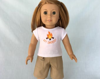 Got Smores Camp T-Shirt and Khaki Cargo Shorts for American Girl/18 Inch Doll