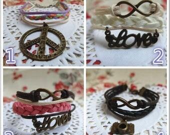 20 Different Kinds Charm Bracelet, Friendship bracelet, Leather bracelet