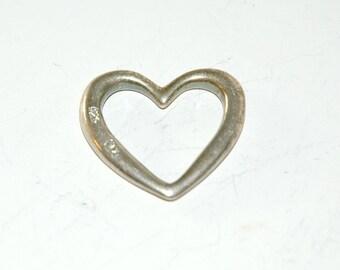 Vintage Silver Heart Pendant / Vintage Heart Shaped Charm /Vintage Sterling Silver Heart Charm / Vintage Sterling Silver Heart Pendant Charm