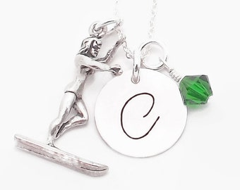 Waterskier Sterling Silver Waterski Initial Necklace, Waterski Mom Necklace with Waterskier Charm and Swarovski Crystal Birthstone