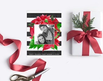 Poinsettia Christmas Cards in Red, Green and Black and White Stripes