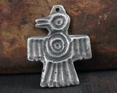 Handmade Aztec Bird Pendant, Handcrafted Pendant, Pewter Pendant, Jewelry Pendant, Necklace Pendant, Hand Cast, Rustic, Tribal - No. 16PD