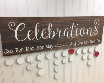 Family Celebrations Board - Family Birthdays Board - Family Calendar - Celebration Board - Family Birthday Calendar - Wall Hanging - CB002