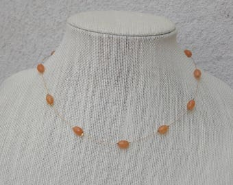 Gold Wire & Floating Glass Bead Necklace, Salmon Orange