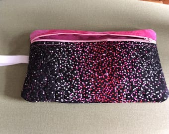 Hand made black, pink, white dotted large zippered cosmetic/kindle/diaper/anything bag