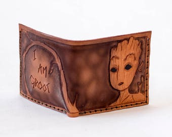 Baby Groot leather wallet - six card slots - handmade