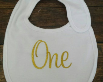 1st birthday bib one silver or gold cotton