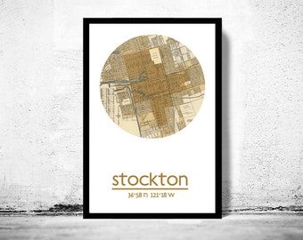 STOCKTON - city poster - city map poster print