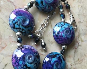 Lampwork Bracelet-Stunning SRA Lampwork Glass Beads-Purple and Turquoise - Lampwork Bead - Beaded Bracelet Abstract Lampwork