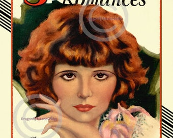 Hollywood Clara Bow Print, Screen Romances, Silent Screen Icon, Glamour Portrait by Barclay Grubb, Wall Decor, Giclee Art Print, 11x14 1929
