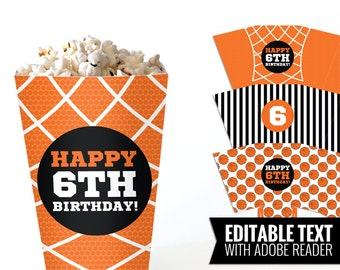 Basketball pop corn boxes - Basketball table decor - Basketball birthday - Sports party decor - Printable and Editable PDF files.
