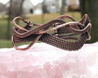 Copper woven wave bracelet