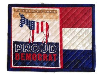Quilted Proud to be a Democrat Patriotic Mug Rug,Red, White and Blue Mug Rug,Mouse Pad,Patriotic Snack Mat,Trivet, Coaster, Quiltsy Handmade