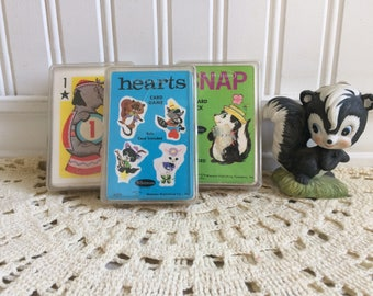 Vintage Childrens Card Games, Whitman, Hearts, Crazy Eights, Snap, Repurpose and Craft, Western Publishing Co.