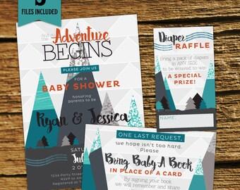 Adventure Baby Boy Shower Invitation Kit, Co-ed, Custom Baby Shower, Mountain, Adventure Begins, Adventure Awaits, mountain, woodland