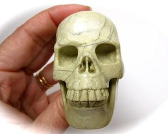 Light Green Butter Jade Carved Crystal Skull 61mm 152g