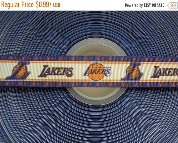 "SUPER SALE LOS Angeles Lakers 7/8"" 22mm Grosgrain Hair Bow Craft Ribbon 782816"