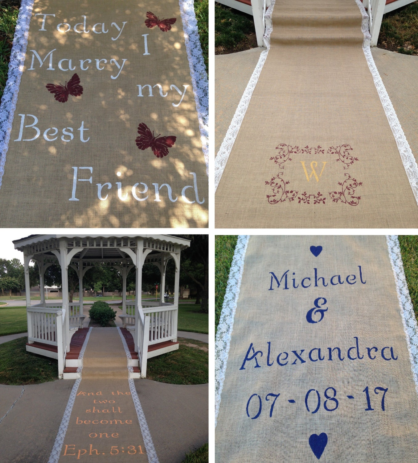 monogrammed rustic burlap and lace aisle runners free