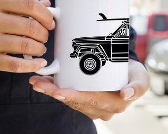 KIllerBeeMoto:  U.S. Made Limited Release American Vintage SUV Surfing Truck Coffee Mug (White)