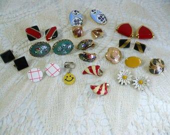 Vintage enamel earrings destash lot 70's-90's 12 pairs plus 4 single for repair or reuse in arts crafts custom jewelry